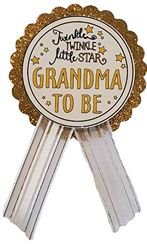 Grandma to Be Pin Twinkle Little Star Baby Shower Pin White & Gold for Nona to wear, It's a Girl, It's a Boy Baby Sprinkle