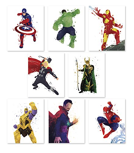 Pgbureau Superhero Wall Poster- Avengers Infinity War Art Prints - Set of 8 - Hulk - Loki - Iron Man - Captain America - Thanos - Spiderman - Thor - Doctor Strange - Great Decor for Home -
