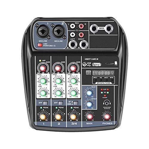 Neewer Mixer a 4 Canali Professionale Audio Stereo Mini Console di Missaggio per Registrazioni Sonore, Webcast, Modifica Musicale, con Alimentatore 48V Phantom RCA Input/Output per Microfono Chitarra