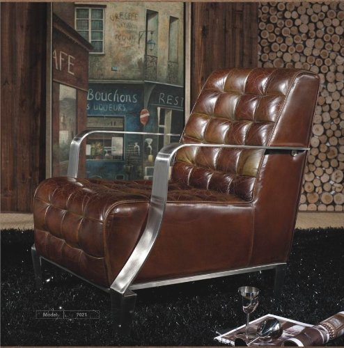 Phoenixarts Vintage Echtleder Sessel Edelstahl Ledersessel Braun Design Sofa Lounge Möbel NEU 448