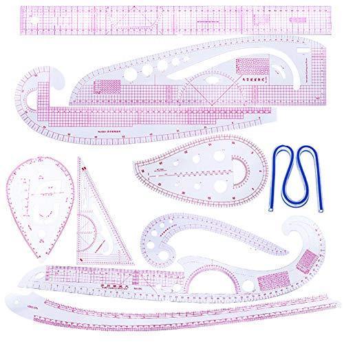 10 unids curva regla patchwork digésmetro kit de medición de sastre plantilla de dibujo plantilla artesanía conjunto de herramientas de costura accesorios multifunción bricolaje ropa ( Color : CZ 16 )