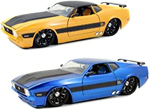 1973 Ford Mustang Mach 1 Blue & Yellow 2 Cars Set 1/24 by Jada 96764SET