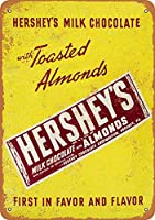 アーモンド入りハーシーミルクチョコレート 金属板ブリキ看板警告サイン注意サイン表示パネル情報サイン金属安全サイン