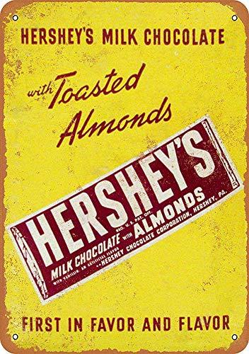 niet Hershey's Melk Chocolade met Amandelen Tin Metalen Teken Plaque Vintage Retro IJzeren Muur Waarschuwing Poster Decor Voor Bar Cafe Store Home Garage Office Hotel