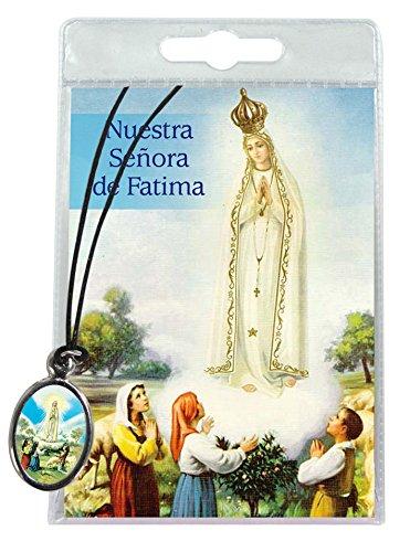 Medalla Virgen de Fátima con cordón y oración en español
