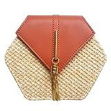 Hexagon Mulit estilo paja + bolso de cuero para mujer, bolsa de ratán, hecha a mano, tejido de playa, círculo bohemio, B, 21*19cm