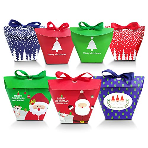Christmas Candy Boxes, 35pcs of 7 Patterns(Santa/Reindeer/Snowflake/Christmas Tree)3D with Small Label and Gift Cord,Cute Box for Chocolate, Treats, and Cookies