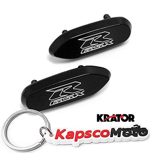 Krator Mirror Block Off Base Plates Compatible with Suzuki GSXR 600 750 1000 Logo Engraved Black Set 2005 2006 2007 2008 2009 2010 2011 2012 + KapscoMoto Keychain