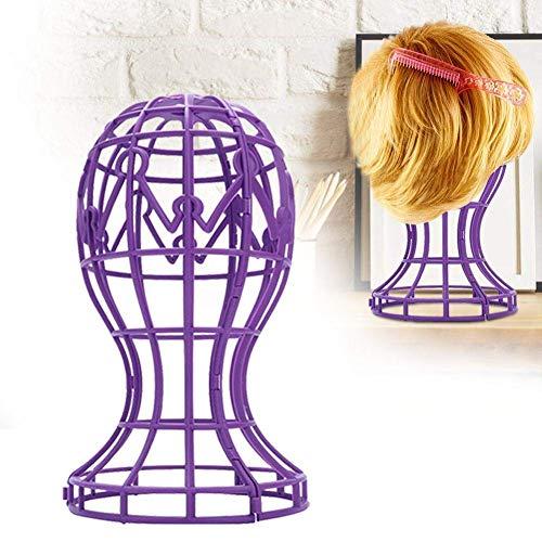 Support de perruque pliable en ABS bicolore, professionnel et durable, adapté aux coiffeurs (Violet)