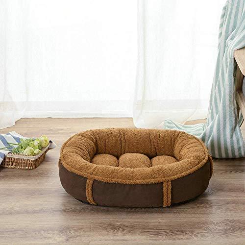 YLCJ Hondenbed van pluche, kussenhoes voor bank, voor honden, bed voor honden, ovaal, kunstleer, voor hondenbed, Siesta-bed, voor honden, sofa, voor katten of katten, bruin, L