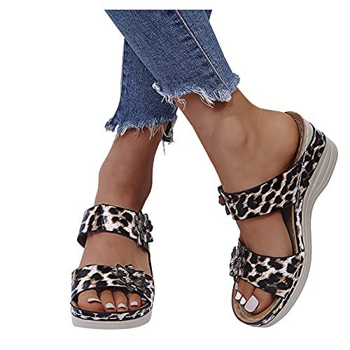 Sandalias Plataforma Mujer Sandalias Cuña 2021 Ocio Verano Estampado Leopardo Estampado Serpiente Zapatillas Tacón Alto Sandalias Flores Una Forma Zapatillas