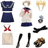 Malaysabah Mon héros académique Himiko Toga Cosplay Costume Anime Tenue avec Perruque Chaussures Fille Uniforme Scolaire JK Robe Ensemble Complet pour Halloween