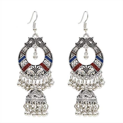 KOFUN Earrings, Traditional Ethnic Indian Earrings Bali Jhumka Jhumki Gypsy Dangle Earrings Red