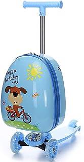 YCYHMYF Skateboard Children Trolley case with Skateboard Kids Children Suitcase Cartoon Blue
