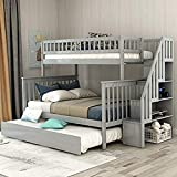 Bunk Bed Twin-Over Full Stairway Bunk Bed with Storage and Trundle Bed, No Box Spring Required, White1