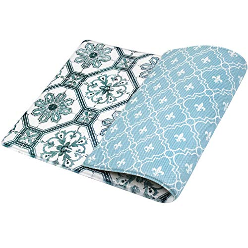 OPUX Anti Fatigue Kitchen Floor Mat   Comfort Standing Mat Home Office Desk Work   Reversible Decorative Ergonomic Padded Rug   Non Slip Waterproof Thick Cushioned Pad   Floral Tile Blue 32x17.5