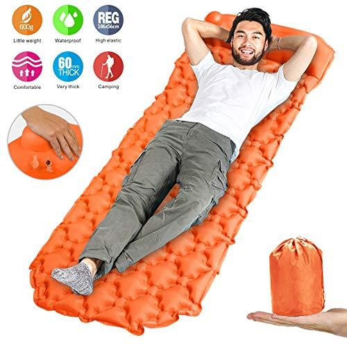 Idefair Inflatable Sleeping Pad,Ultralight Camping Mats Outdoor Mattress Waterproof Air Sleeping Mat with Pillow for Tents Hiking Backpacking Camping Travelling Hammock Beach (Orange)