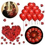 ASANMU Kit Romántico de Velas y Pétalos, 1000 Piezas Pétalos de Rosa + 50 Rojo Velas en Forma de Corazón + 10 Foil Globos Corazón Rojo Decoración para Bodas, San Valentín, Aniversarios y Compromiso