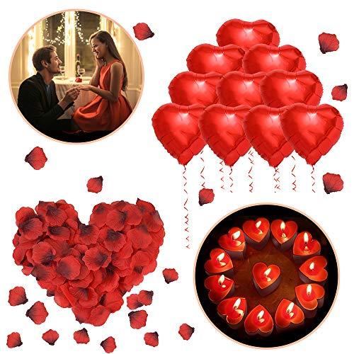 ❤️Set de decoracion romantica: Incluye 10 globos en forma de corazón rojo de mylar, 50 candelitas de velas de amor, 1000 paquetes de pétalos de rosa artificiales. El kit romántico de ASANMU tiene todo lo que necesitas para que tu día especial sea ino...