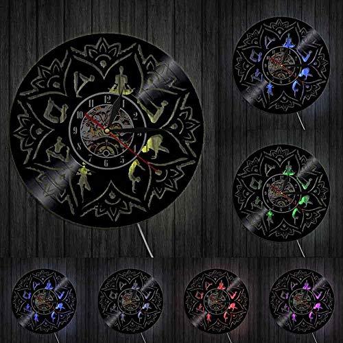 mbbvv Semilla de la Vida Lotus Wall Art Zen Adornos Meditación Reloj de Pared Relajación Yoga Room Decoración de la Pared Mandala Disco de Vinilo Reloj de Pared