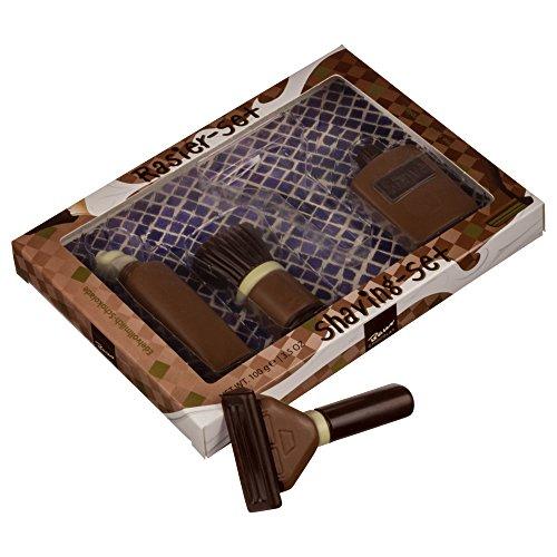 Geschenke für Männer | Rasierer aus Schokolade mit Rasierpinsel, Rasierschaum und Parfümflasche aus Edelvollmilch-Schokolade (100 g) | Ideal zum Herrentag, Vatertag, Männertag