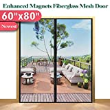 """Mkicesky [Upgrade Version] Fiberglass Screen Curtain, Double Patio Mesh Cover for French/Sliding Full Frame Hook&Loop Fit Door Up to 58""""x 79"""" Max-Newest 9.84"""" Magnet, Black"""