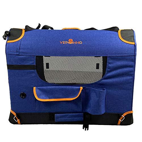 YEP HHO Mochila para perros, transpirable y plegable, para mascotas, portátil, para viajes, carga máxima de 50 kg (70 x 52 x 52 cm), color azul oscuro