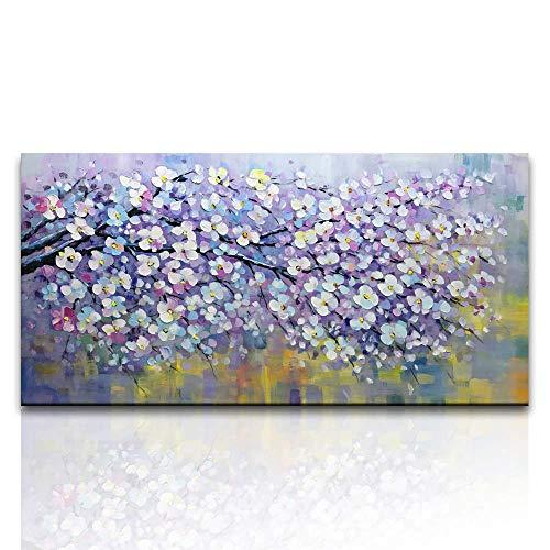 """HIMAmonkey 100% Pintura Al óLeo Pintado A Mano Cuadros Abstractos Modernos Flor Arte De Pared sobre Lienzo Estirada Y Enmarcado DecoracióN Listo para Colgar,24""""*48""""(60 * 120cm)"""