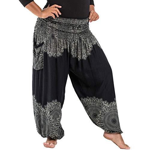 Damen Sommerhose Pumphose Haremshose Große Größen Muster Hippie Boho Yogahosen mit Elastischen Bund Taschen Freizeithose Pluderhose Strandhose Größe 32 bis 45 (Schwarz)