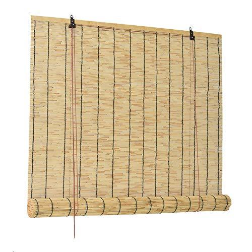 XYNH Persianas De Caña - Persiana Enrollable De Bambú - Toldo Vertical,Montaje Sin Perforación,Sombreado Y Ventilación,para Uso Interior Y Exterior.