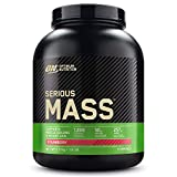 Optimum Nutrition Serious Mass, Mass Gainer avec Whey, Proteines Musculation Prise de Masse avec Vitamines, Creatine et Glutamine, Fraise, 8 Portions, 2.73kg, l'Emballage Peut Varier