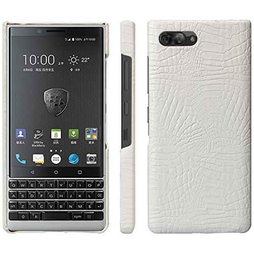 HualuBro BlackBerry KEY2 Hülle, Ultra Slim Premium Crocodile PU Leder Leather HandyHülle Tasche Schutzhülle Case Cover für BlackBerry Key 2 Smartphone (Weiß)