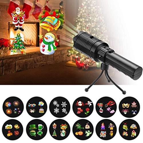 Proiettore Fiocchi di Neve, Faretti LED illuminazione Luci Natale Esterno, torcia elettrica, Proiettori Luce Natalizie, Decorazione della parete, Proiettore di Halloween con 12 obiettivi sostituibili