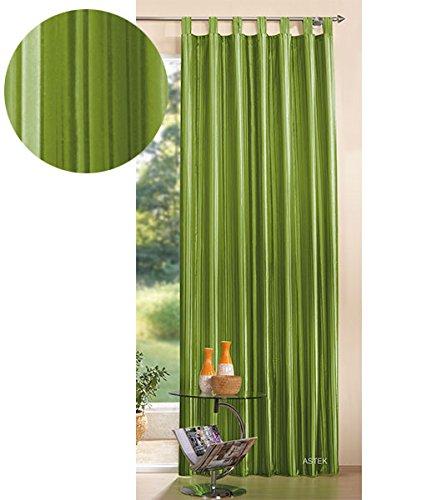 Gardinenbox Gestreifter Deko Taft Vorhang, blickdicht und lichtdurchlässig, leicht glänzender Deko Stoff, 245x140, Apfelgrün, 03930