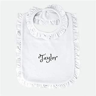 Personalized Baby bib Custom Monogram/Name Embroidered | Infant Bib Newborn Bib/Burp Cloth Baby Boy Bib Baby Girl Bib Perfect Baby Shower Present/Gift (White Ruffle)