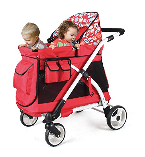 Best Price! Familidoo Multi-Purpose Folding Single Stroller Wagon with Deep Carriage, Zipper Doors, ...