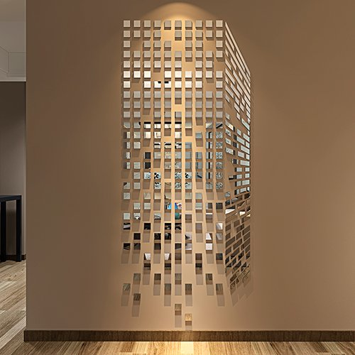 Rubik's cube, acrylic wall sticker, mosaic mirror wall sticker 3D stereo living room entrance TV background wall sticker decoration,017 magic cube - silver mirror,Oversize
