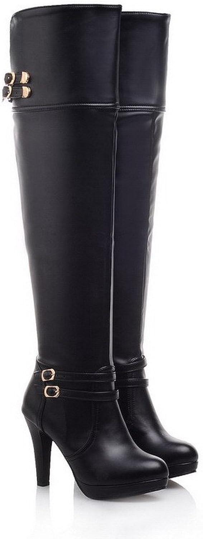 BalaMasa Womens High Heels Above The Knee Solid PU Thigh Boots
