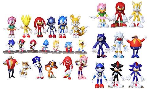 Conjunto figuras Sonic 28 piezas/lote de personaje sónico PVC cola sónica personaje llavero juguete para niños regalo de Navidad