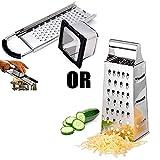 Rallador de Acero Inoxidable, Rallador De Queso, Rallador de Cocina con Mango, Rallador Manual, Rallador de 4 lados para Verduras de Cocina Frutas Quesos, Apto para lavavajillas