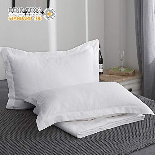 King Linens 100% Belgian Linen Pillow Shams Basic Style (20'' x 36'') - Pack of 2 - Stone Washed Solid Color Natural Flax Soft Breathable - White