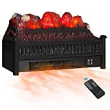 KINGSO Electric Fireplace Insert Logs 23 inch Remote Control Faux Fireplace Log Set Heater with Realistic Ember Bed Adjustable 3D Flame Effect Thermostat Overheat Protection CSA Certified, 1400W