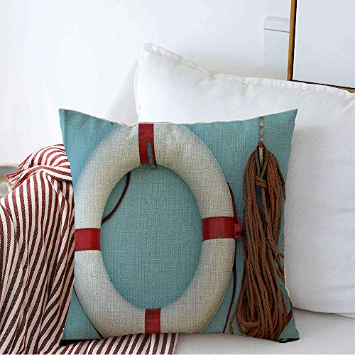 Decorative Throw Pillow Cover Case Charming Red White Vintage Life Preserver Hung Buoy Lifebuoy Circle Emergency Equipment Float Ring Linen Square Cushion Sham for Car Couch Bedroom 18 x 18 Inch