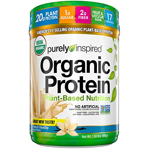 Purely Inspired Organic Protein Shake Powder, 20g of Plant-Based Protein for Women and Men, Probiotic, Vegan Friendly, Non-GMO, Gluten Free, Dairy Free, Soy Free, Vanilla, 1.5 Pounds (17 Servings)