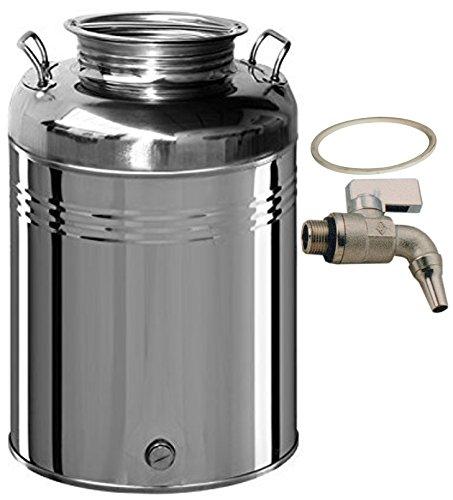 Contenitore fusto bidone olio Inox 18/10 Belvivere 50 lt made in Italy completo di rubinetto e guarnizione