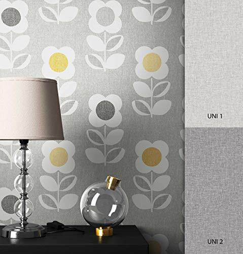 NEWROOM Blumentapete Tapete grau Blumen Floral Retro Papiertapete gelb Papier moderne Design Optik Tapete Natur inkl. Tapezier Ratgeber
