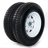 TRIBLE SIX 2-pcs Trailer Tire + Rim ST175/80D13 5 Lug White Spoke LRC Bias Tires H188 ST175/80D13 B78-13