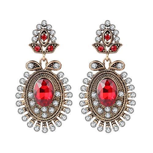 Regalos de fiesta rojo Gota Pendientes para las mujeres moda oro antiguo color blanco cristal flor Vintage joyería
