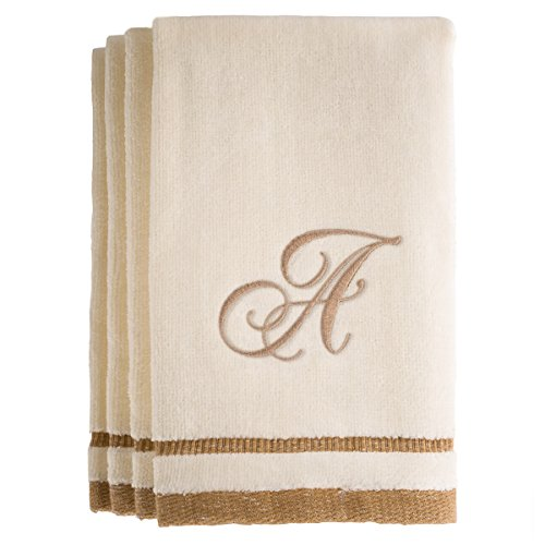 Monogrammed Gifts, Fingertip Towels, 11 x 18 Inches - Set of 4- Decorative Golden Brown Embroidered Towel - Extra Absorbent 100% Cotton- Personalized Gift- for Bathroom/Kitchen- Initial A (Ivory)