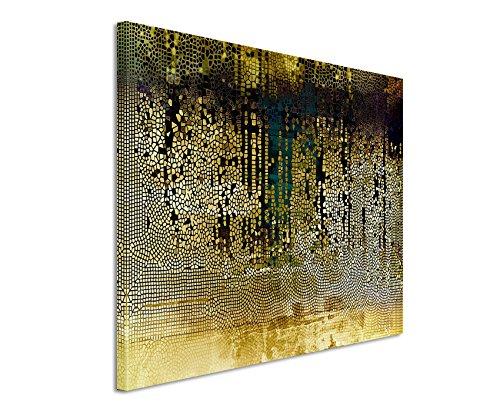 Paul Sinus Art XXL Fotoleinwand 120x80cm Vintage Mosaik mi Beige, Braun, Blau, Grau, Schwarz und Weiß auf Leinwand Exklusives Wandbild Moderne Fotografie für ihre Wand in vielen Größen